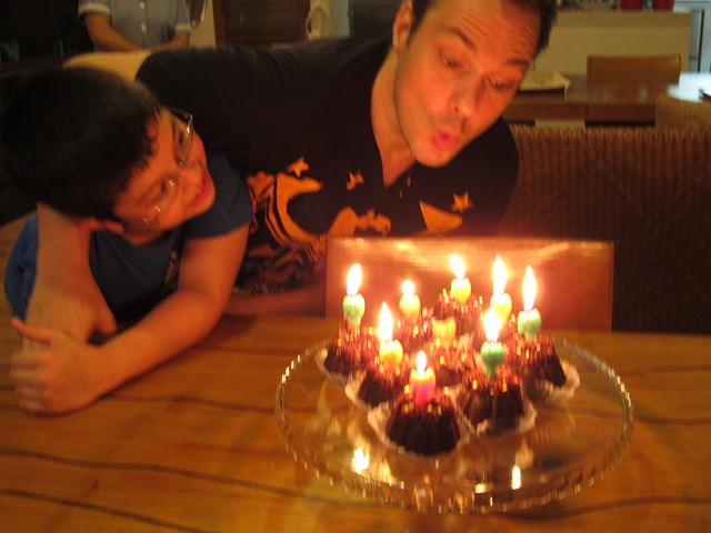 Blowing Marky's candles