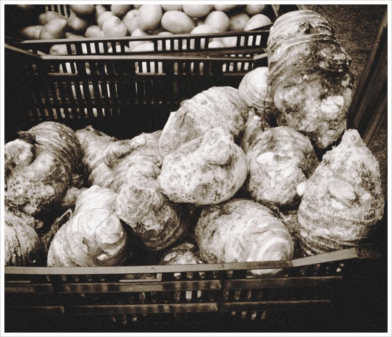 Taro and Potatoes at Byron Bay Farmers Market
