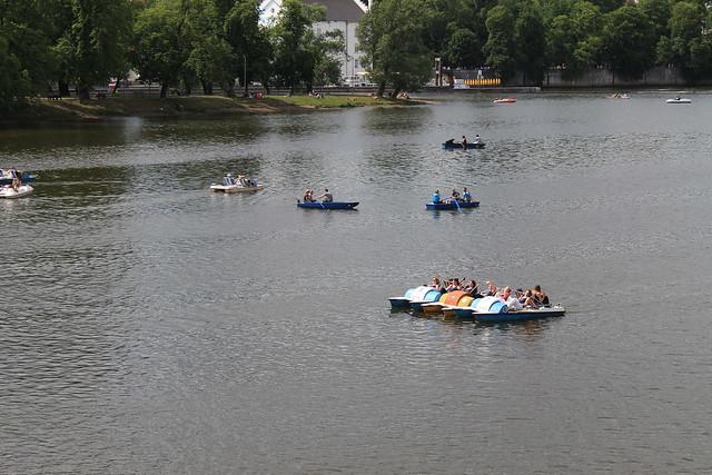 Rowboats and paddleboats on the Vltava