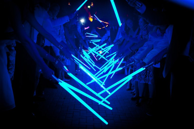 Lightsaber wedding exit as seen on @offbeatbride