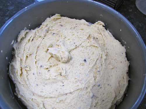 Batter spread in pan