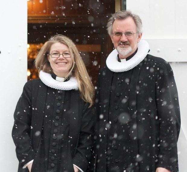 Kristín Þórunn og Gunnar að lokinni guðsþjónustu