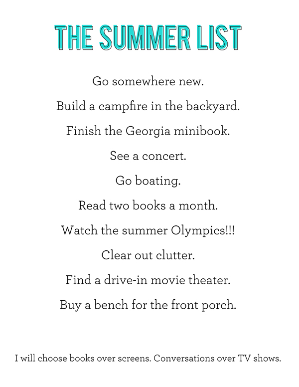 Summer List BLOG