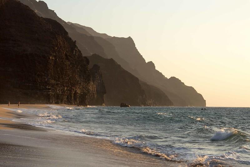 Golden hour on Kalalau Beach