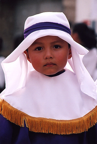 child during Santa Semana, Guatemala