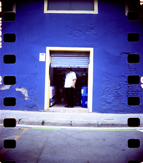 man in a door in barcelona
