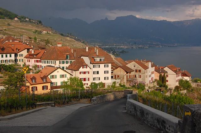Swiss hillside town