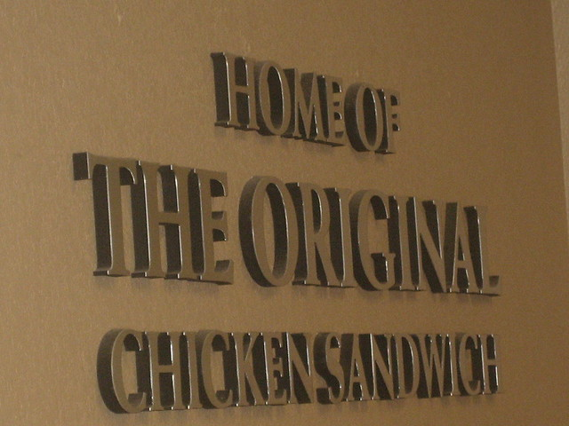 """Home of the Original Chicken Sandwich"" on the wall in Loganville, Georgia's Chick-fil-A"