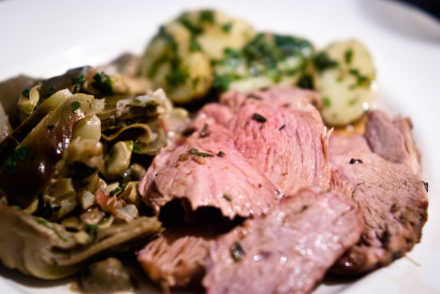 Leg of lamb with braised artichokes and broad beans