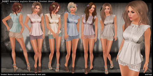 *League* Broderie Anglais Blouses & Crochet Shorts