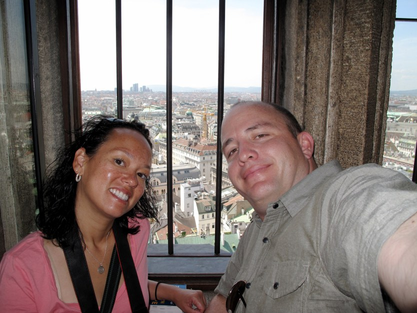 Heather and Matt in St Stephen's Cathedral tower.