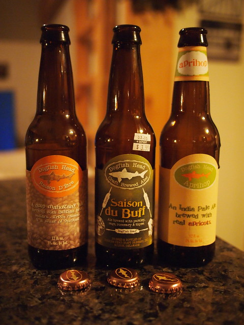 Dogfish Head's Raison D Etre, Saison du BUFF and ApriHop - The Trifecta