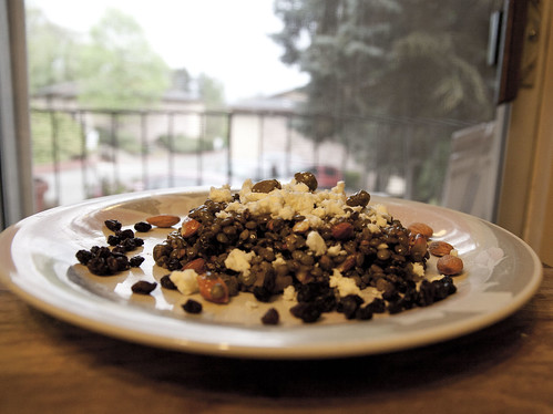 Lentil Salad with Ramps, Currants, Capers, Almonds and Feta