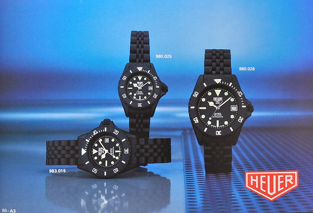 Heuer Diver 983.015 Black Coral (Mid-Sized) in the 1984/5 Catalogue