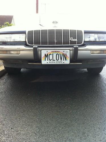 "Vanity Hawaiian license plate - ""MCLOVN"""