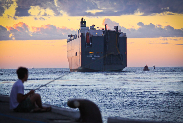 Car carrier ship leaving Fremantle port