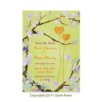 Two Hearts(in Green) Save the Date Wedding Invitations