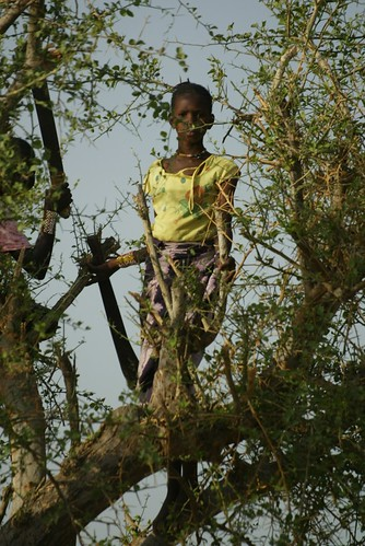 Girl cuts leaves to make a soup in Niger