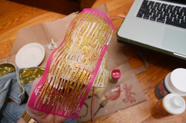 DIY Wood Grain Mod Podge Glitter Pot
