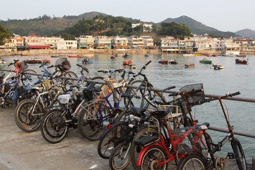 Bikes parked on the ferry pier