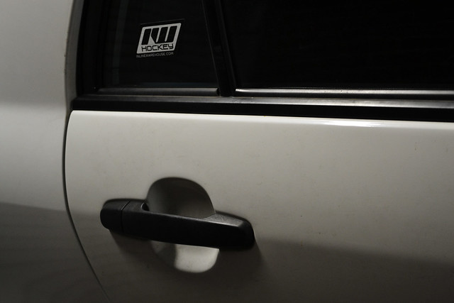 A photo of a bumper sticker - A serious lack of bumper stickers in my neighbourhood