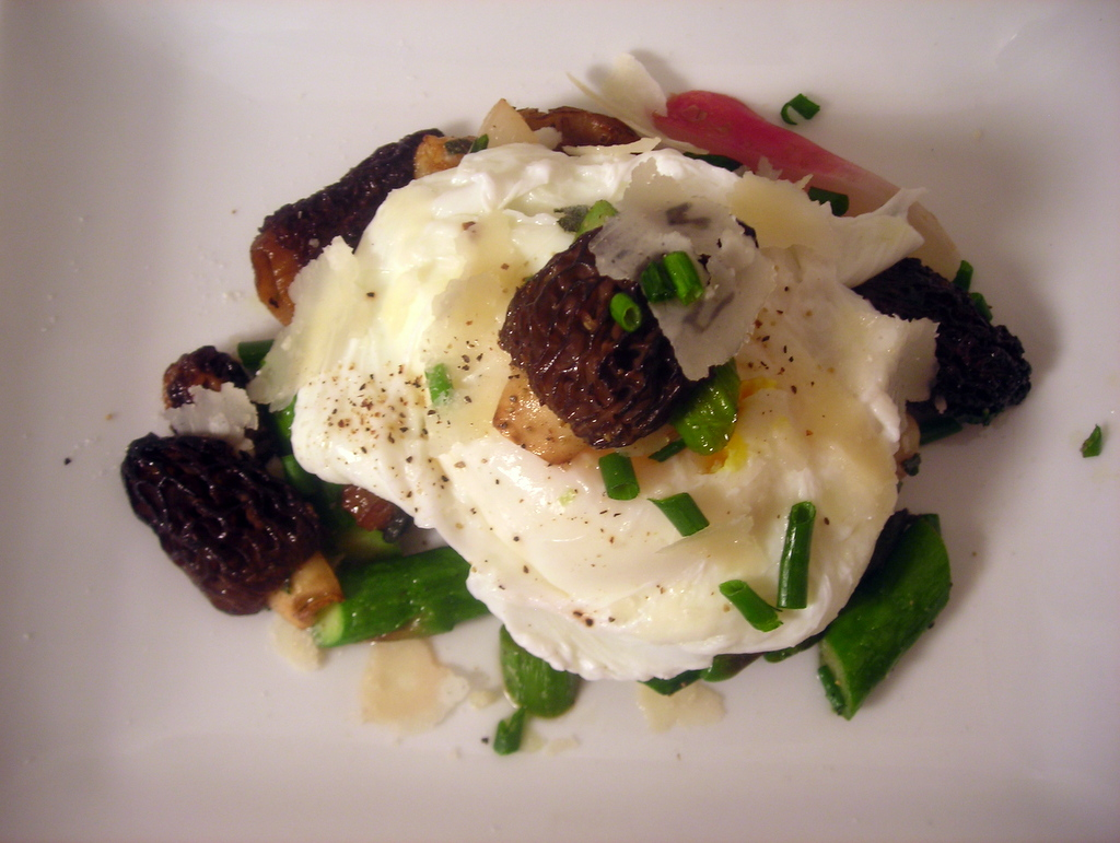 Spring vegetables, poached wild turkey egg