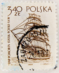 stamp Poland Polska 3.40 zt zloty timbre Pologne selo bollo Polonia francobollo postage Pomorza Marka 3,40 zloty ship