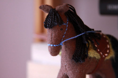 my little felt horse, created by artist rebecca ridout