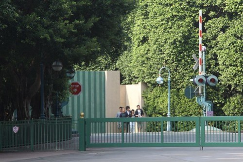 Railroad level crossing on the Hong Kong Disneyland backlot