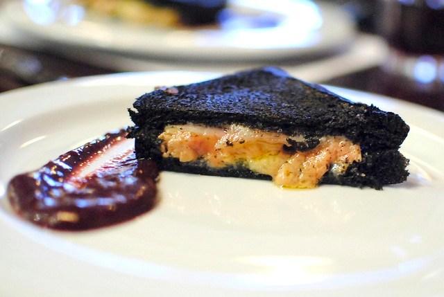 Foie Gras Black Croque-Monsieur with grape sauce