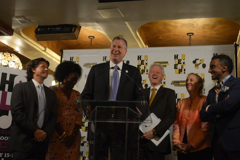 Mayor Bill de Blasio  and Former President Bill Clinton attend the Harlem Festival /City Meals on Wheels Event at the Red Rooster in Harlem