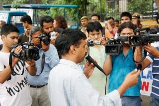 Arvind Kejriwal, anti corruption movement leader, addressing the media.