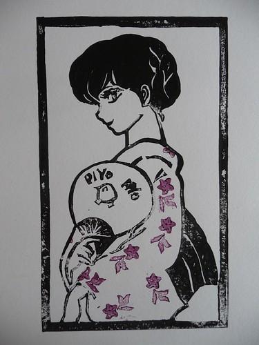 Kyoko Otonashi Lino Cut Print