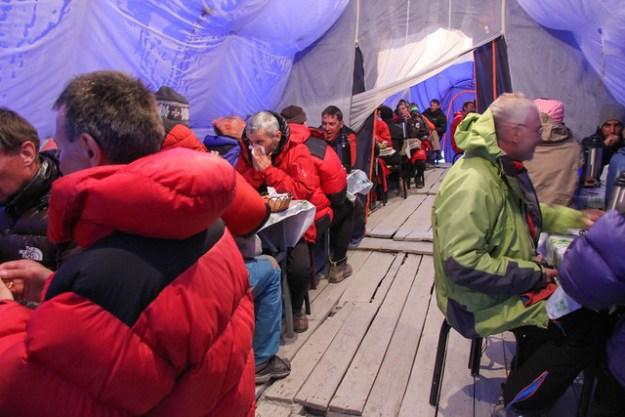 Kitchen tent at South Inylchek Base Camp. South Inylchek Glacier Trek