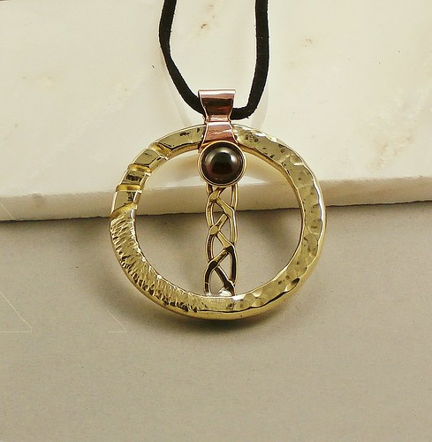 pendant brass, copper, Garnet10mm  size 2in by Wolfgang Schweizer
