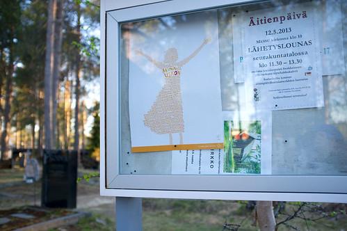 Noticeboard outside Sodankylä old church, Lapland
