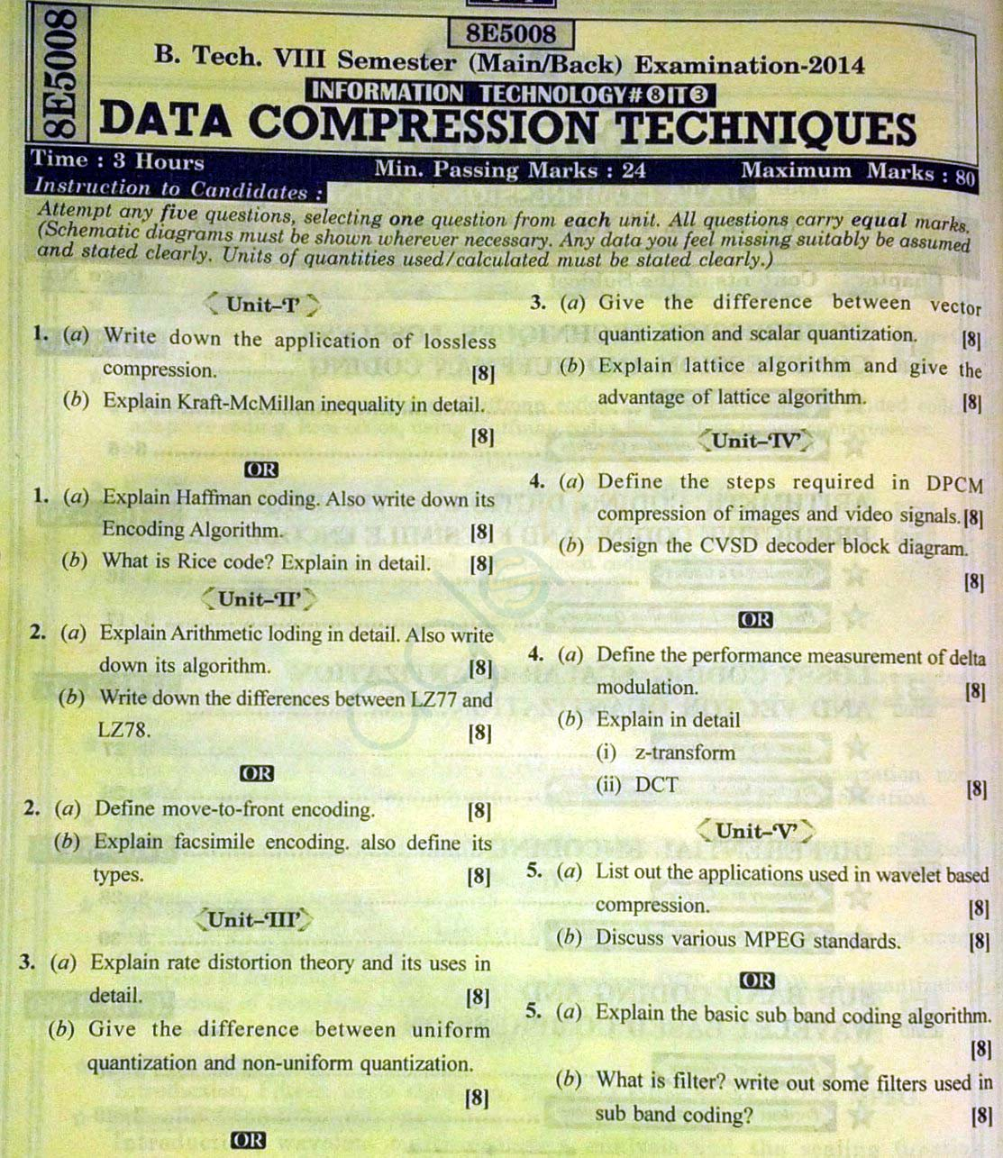 RTU: Question Papers 2014 - 8 Semester - IT - 8E5008