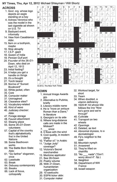 NY Times Puzzle - Thursday, April 12, 2012
