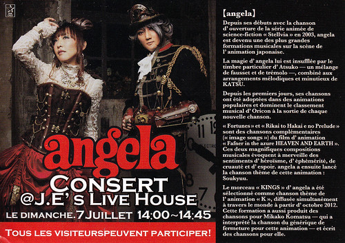 angela live at Japan Expo flyer