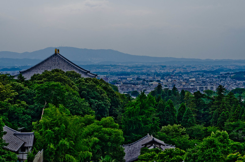 Aria view of the Nara City from Nigatsudo