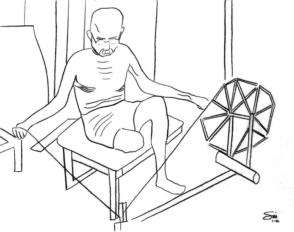Gandhi Spinning Line Drawing