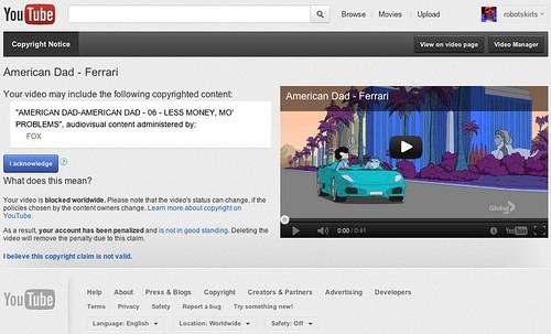 YouTube copyright notice