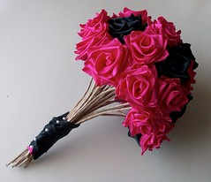 Punk Rock Bride- Hot Pink and Black Bouquet- Side 1