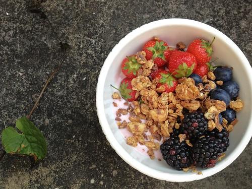 Sonata strawberries, blueberries, blackberries, Dorset Cereal granola, strawberry yoghurt