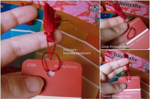 Adding tassel to bookmark