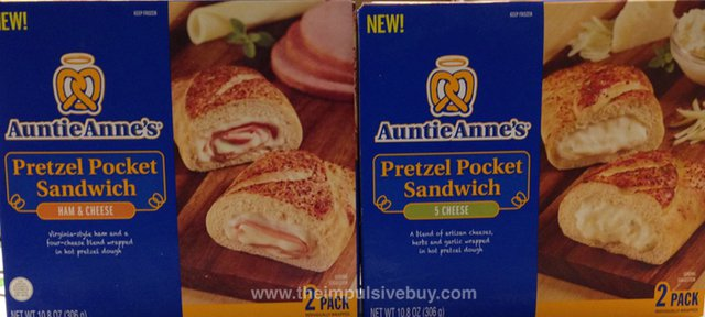 Auntie Anne's Ham & Cheese and 5 Cheese Pretzel Pocket Sandwiches