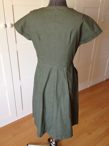 green denim Simplicity 5723 back view