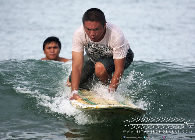 Joey surfing in Gubat Bay Sorsogon