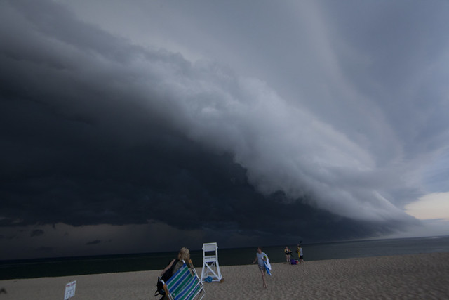 Shelf cloud moving over Race Point Beach in Cape Cod, Massachusetts