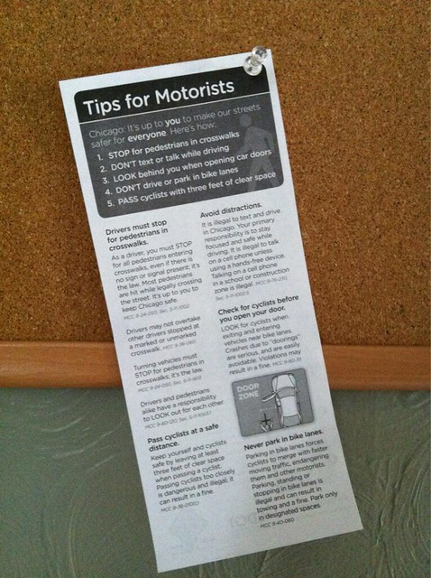 Tips for Motorists posted in Shaun's mail room